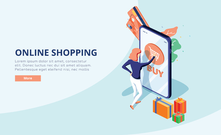 Online shopping concept with character. Sale and consumerism. Young woman shop online using smartphone. Web banner 스톡 콘텐츠 - 121663486