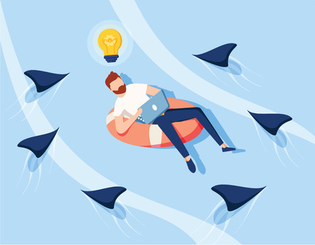 Creative Idea Save from Business Competition. Businesswoman Character Swim on Innertube above Danger Fish. Fearless Creativity Concept. Flat Cartoon Vector Illustration. Financial success, increase.