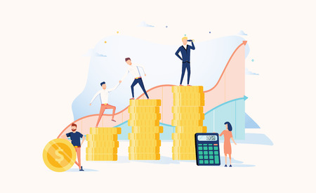 Career growth to success. Business people. Vector illustration. Achievement concept. Financial wealth and work promotion. Teamwork process with graph progress. People workins together, help each other