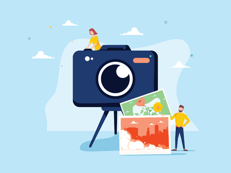 Photographer occupation vector illustration. Flat tiny camera picture person concept. Professional digital film 向量圖像