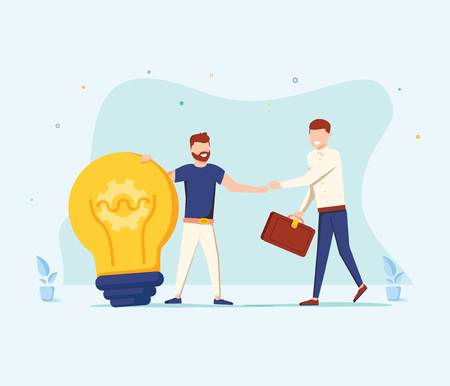 The man is holding a huge light bulb and shaking hands with a businessman with briefcase. Startup and search of investments concept. Business angel investing to innovational idea. Vector illustration. Vectores
