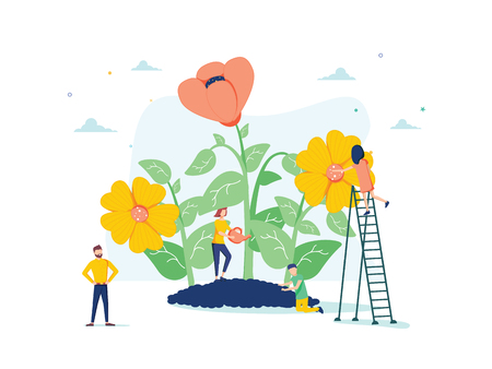 Vector illustration of spring flowers on white background, gardeners look after the garden, growing and studying plants in nature, clean ecology. Flowers background for web page or banner, garden