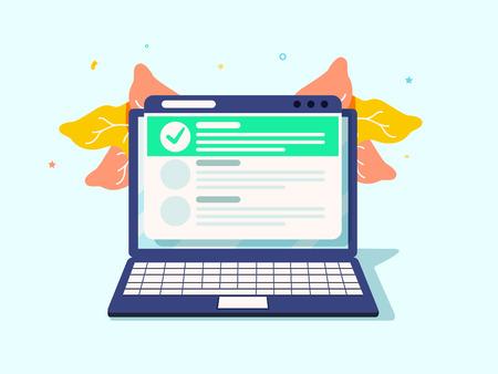 Online form survey on laptop. Vector illustration. Flat style design. To do list, task manager. Check marks, shedule