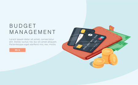 Budget management concept in isometric vector illustration. Money economy background with billfold. Profit or revenue analysis as part of accounting. Web banner layout template. Online taxes