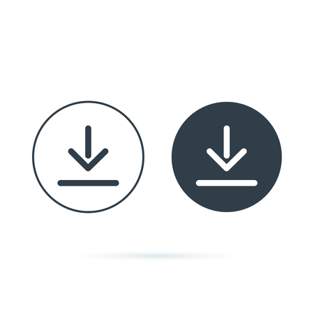 Download icon. Downloading vector icon. Save to computer symbol, Solid and line icons set for upload option. Arrow down button, save from internet buttons for browser or app. Navigation ui, ux  イラスト・ベクター素材