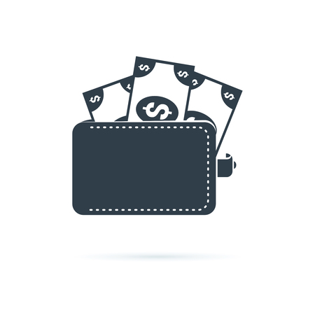 Wallet icon. Affordability sign. Cash savings symbol. Quality design element. Classic style icon. Vector solid icons for website, infographic or app. Financial symbol with money, currency, dollars.