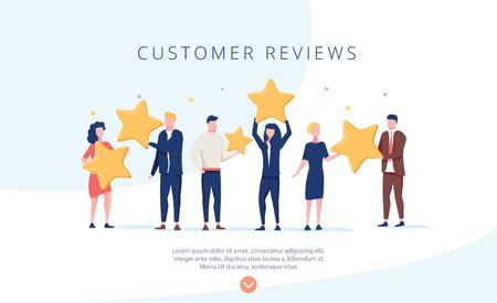 Leute, die Sterne halten. Kundenrezensionen Konzept Illustration Konzept Illustration, perfekt für Webdesign, Banner, mobile App, Landing Page, flaches Design des Vektors. Feedback, kennen Sie Ihr Kundenkonzept.