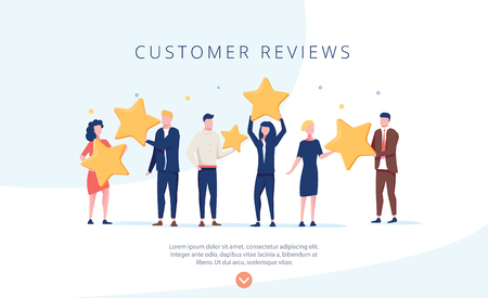 People holding stars. Customer reviews concept illustration concept illustration, perfect for web design, banner, mobile app, landing page, vector flat design. Feedback, know your customer concept. Фото со стока - 121136890