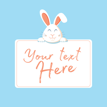 Happy Easter web banner. Greeting card with rabbit. Bunny ears. Vector illustration. Character bunny, rabbit with a table for text. Greeting card funny rabbit with a sign. Easter celebration banner