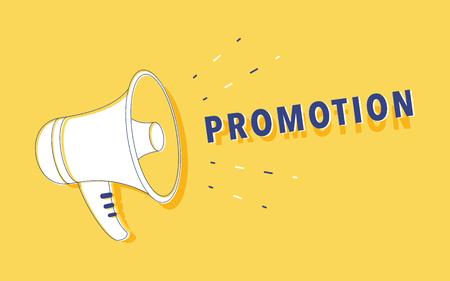 Hand holding megaphone with. Loudspeaker for digital marketing, promotion and advertising. Flat vector illustration. Advertising banner for website. Business promotion solution illustration.