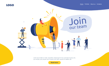 Group of people shouting on megaphone Join our team vector illustration concept. Flat style illustration for web. Business illustration for we are hire. Employment search, business team and workers Иллюстрация
