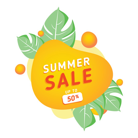 Summer sale banner template. Summer abstract geometric background with palm leaves and clouds. Tropical backdrop. Promo badge for your seasonal design. Vector illustration.