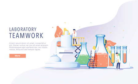 Teamwork laboratory research with science glass est tube vector illustration concept, people por chemiceal liquid, can use for, landing page, template, ui web, mobile app, poster, banner flyer 向量圖像