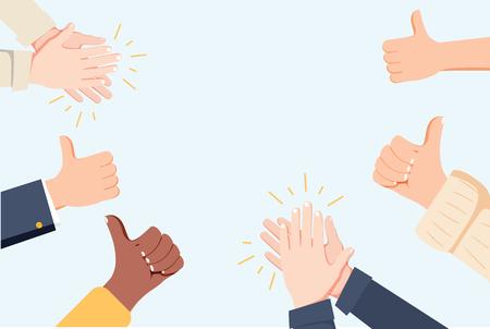 Menschenhände klatschen. Applaudieren Sie den Händen. Vektorillustration im flachen Stil. Viele Hände klatschen Ovationen und schlagen auf, applaudieren den Händen. Flache Karikaturgeschäftserfolgillustration. Social-Media-Marketing