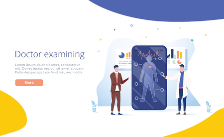 Doctors examining a patient using a medical app on a smartphone, online medical consultation and technology concept. Healthy lifestyle and healthcare app concept. Doctor consulting patient. Symptoms