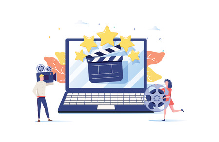 movie festival, online cinema vector illustration concept, people watching movie by online streaming, millenial vlogger, can use for landing page, template, ui, web, homepage poster, banner or flyer 向量圖像