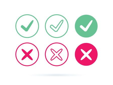 Check mark logo vector or icon. Tick symbol in green color illustration. Accept okey symbol for approvement or cheklist design. Choice minimalistic pictogram. Positive and negative checkmarks for web