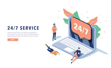 24\7 service concept or call center in isometric vector illustration. 24-7 round the clock or nonstop customer support background. Self-service layout template for web banner. Customer care app.