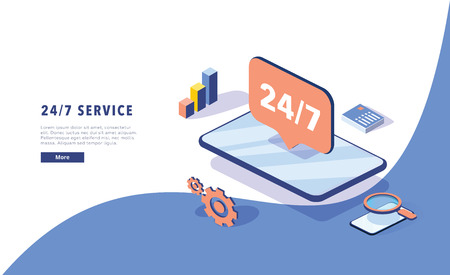 24\7 service concept or call center in isometric vector illustration. 24-7 round the clock or nonstop customer support background. Mobile self-service layout template for web banner. Customer care app 向量圖像