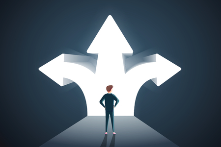 Business decisions concept. Vector of a perplexed businessman with question mark standing in front of arrows crossroads making a right choice. Career path and strategy. Hard choice, business strategy 向量圖像