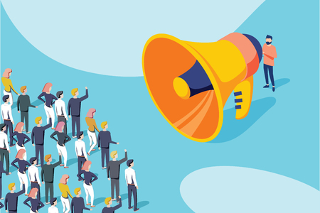 Isometric vector of a businessman or politician with megaphone making an announcement to a crowd of people. 向量圖像