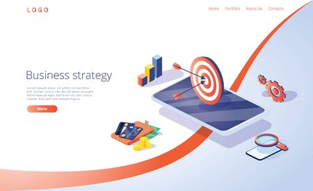 Business strategy isometric vector illustration. Data analytics for company marketing solutions or financial performance