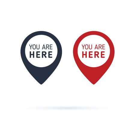 You are here sign icon mark. Destination or location point concept. Pin position marker design. 向量圖像