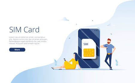 SIM card concept in vector illustration. Mobile network with esim microchip technology. Web banner. Vectores