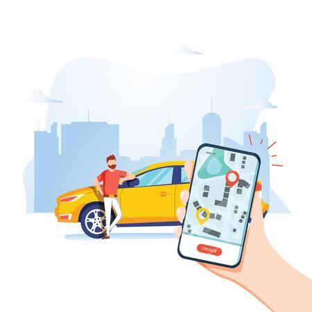 Concepto de ilustración de vector de transporte de ciudad inteligente, coche compartido en línea con personaje de dibujos animados y teléfono inteligente.