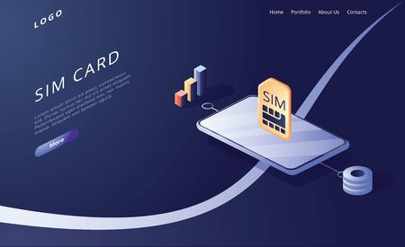 SIM card concept in isometric vector illustration. Mobile network with esim microchip technology. Web banner