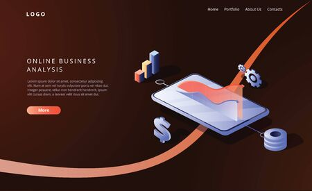 Online business analysis strategy isometric vector illustration. Data analytics for company marketing solutions or financial performance. Budget accounting or statistics concept. Payment system