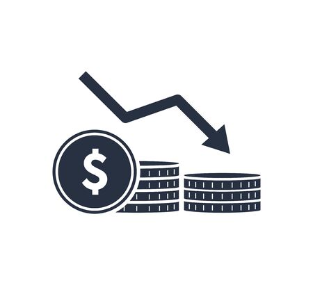 Money reduction line icon. Stacks of coins, cash, graph, arrow down. Investment concept. Vector illustration 向量圖像