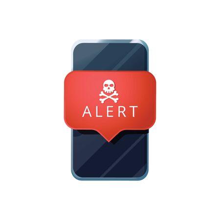 Mobile phone virus alert. Malware smartphone scam phishing security error skull message. Malware notification