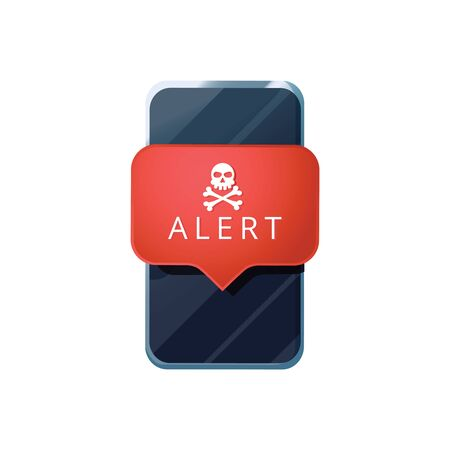 Mobile phone virus alert. Malware smartphone scam phishing security error skull message. Malware notification