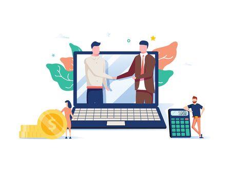 Due soci in affari che si stringono la mano in un grande computer portatile. Business online, partnership e accordi, con piccoli dipendenti in giro