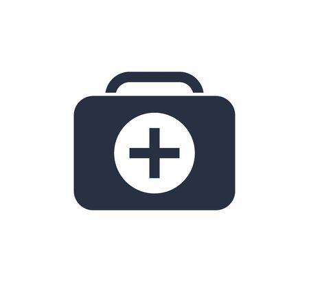 First Aid Kit Icon Vector Illustration. Healthcare icon with emergency briefcase equipment. Life care, medical icon.