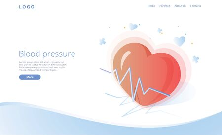 Blood pressure concept in isometric vector illustration. Arterial pressure measuring or check machine. Medical website