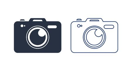 Photo camera vector icon illustration. Camera Icon in trendy flat style isolated on white background. Solid, linear icon Çizim