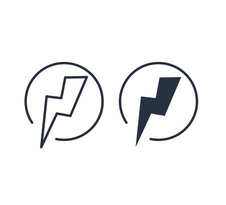 Lightning Electric Icon Vector Illustration. Battery button. Power vector design element. Energy and thunder
