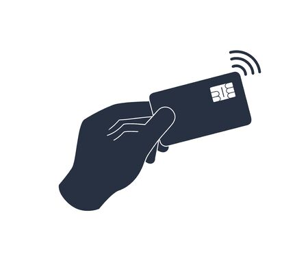 Contactless payment, credit card and hand tap pay wave. Vector wireless NFC and contactless pay pass icon