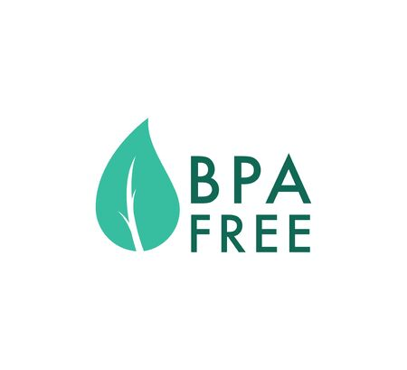BPA free vector icon, Safe food package stamp. Healthy BPA free check mark leaf and drop seal. No toxic approved icon Иллюстрация