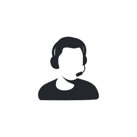 Call center support icon symbol vector. Young businessman at the call center. Male Customer Services Agent. Headphones with microphone on a head. Gamer, streemer, commentator icon symbol. 向量圖像