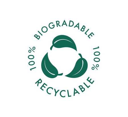 Biodegradable recyclable vector icon. 100 percent bio recyclable and degradable package packet. Nature safe icon, compostable vector icon. Bio recyclable eco friendly green leaf, healthcare