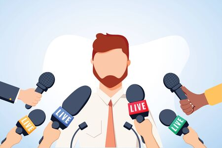 Tv interview microphones, broadcasting male speech. Happy popular young man recording opinion, business, political celebrity giving comments for news, reportage. Vector flat style cartoon illustration