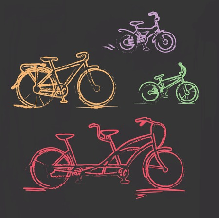 chalky: Sketched chalky bicycle set on blackboard