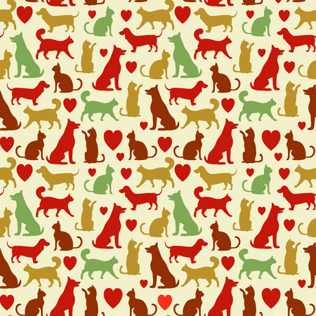 pets love illustration, seamless pattern with pets and heard Stok Fotoğraf - 42170532
