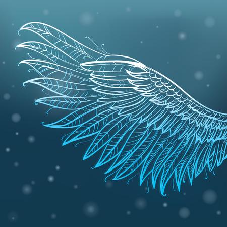 tatouage ange: ailes tir�es ange main, illustration