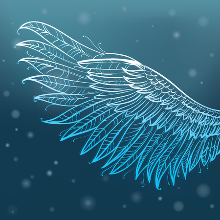 gothic angel: angel hand drawn wings, illustration