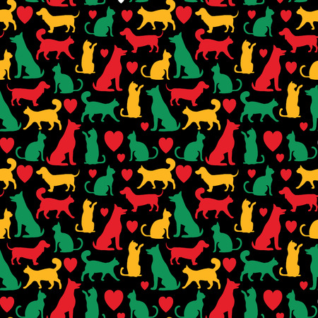 pets love illustration, seamless pattern with pets and heart Stock Photo
