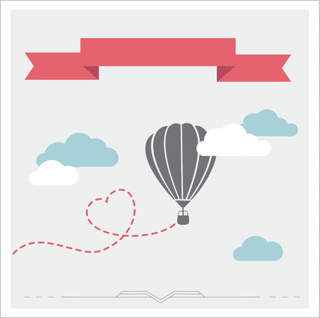 aerostat: Retro background with aerostat flying in the clouds, romantic illustration